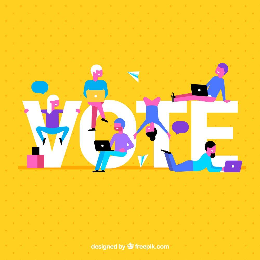 Gelber Hintergrund mit VOTE - Aufruf