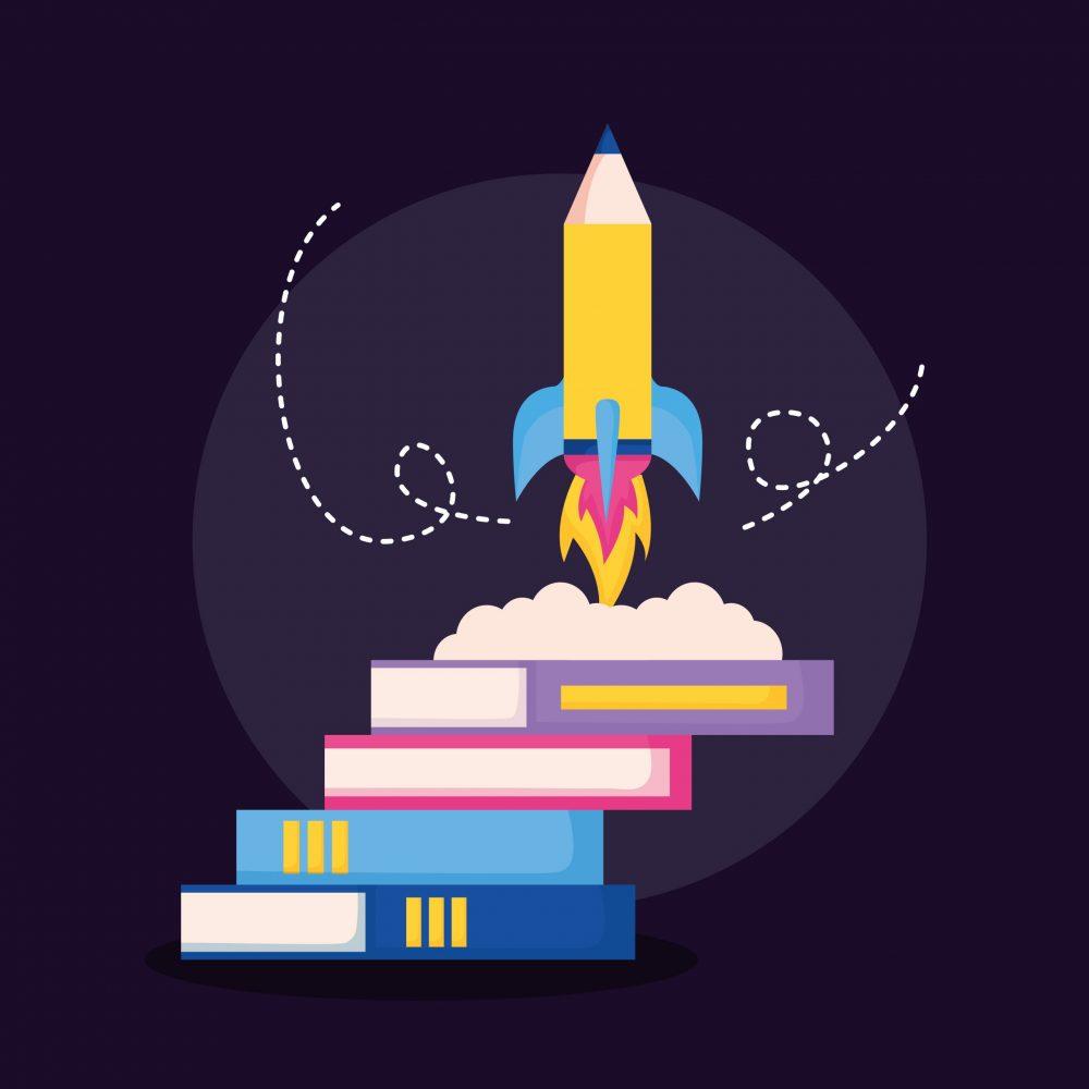 Symbolbild_Rakete und Bücher