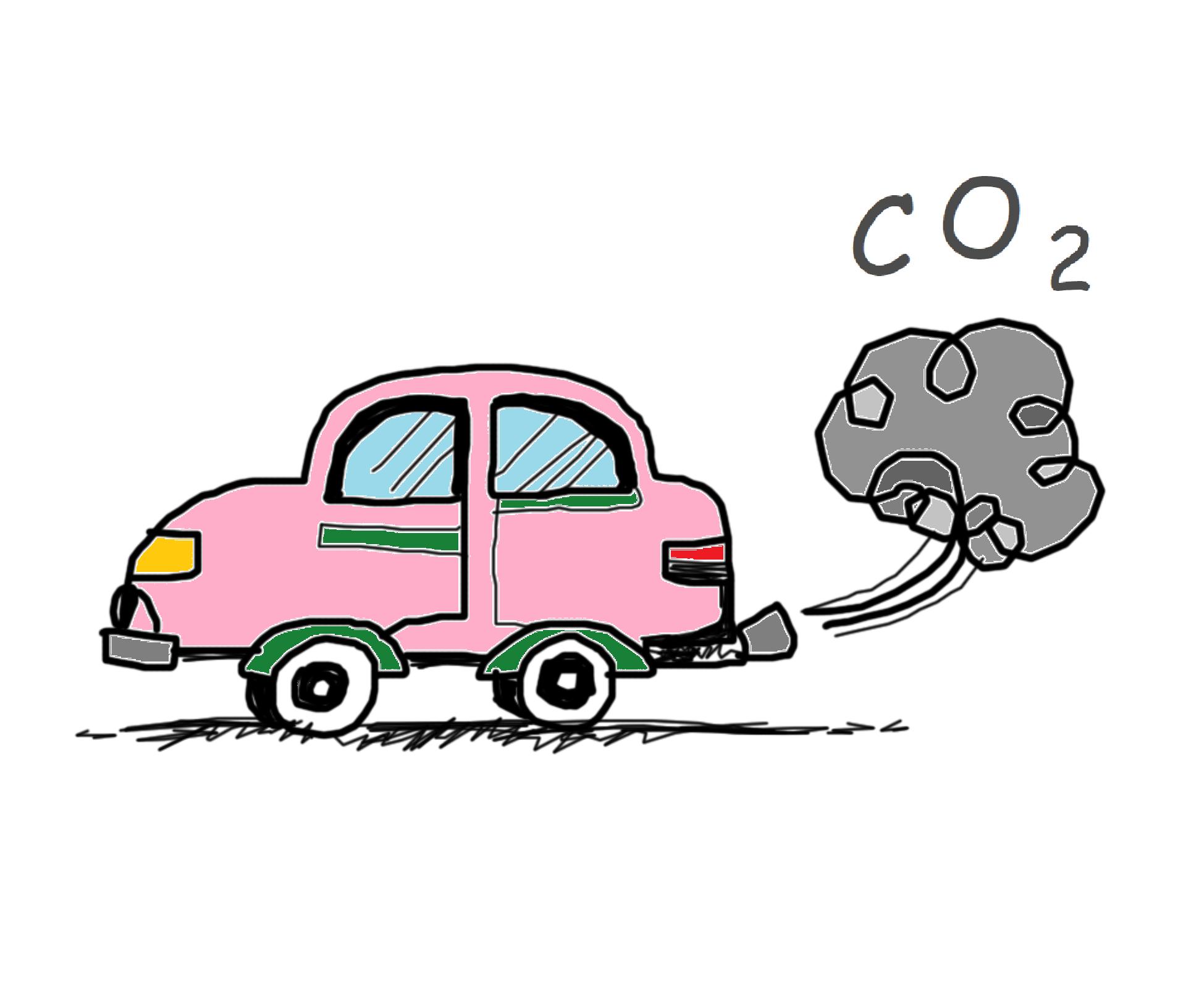 Auto mit Abgaswolke