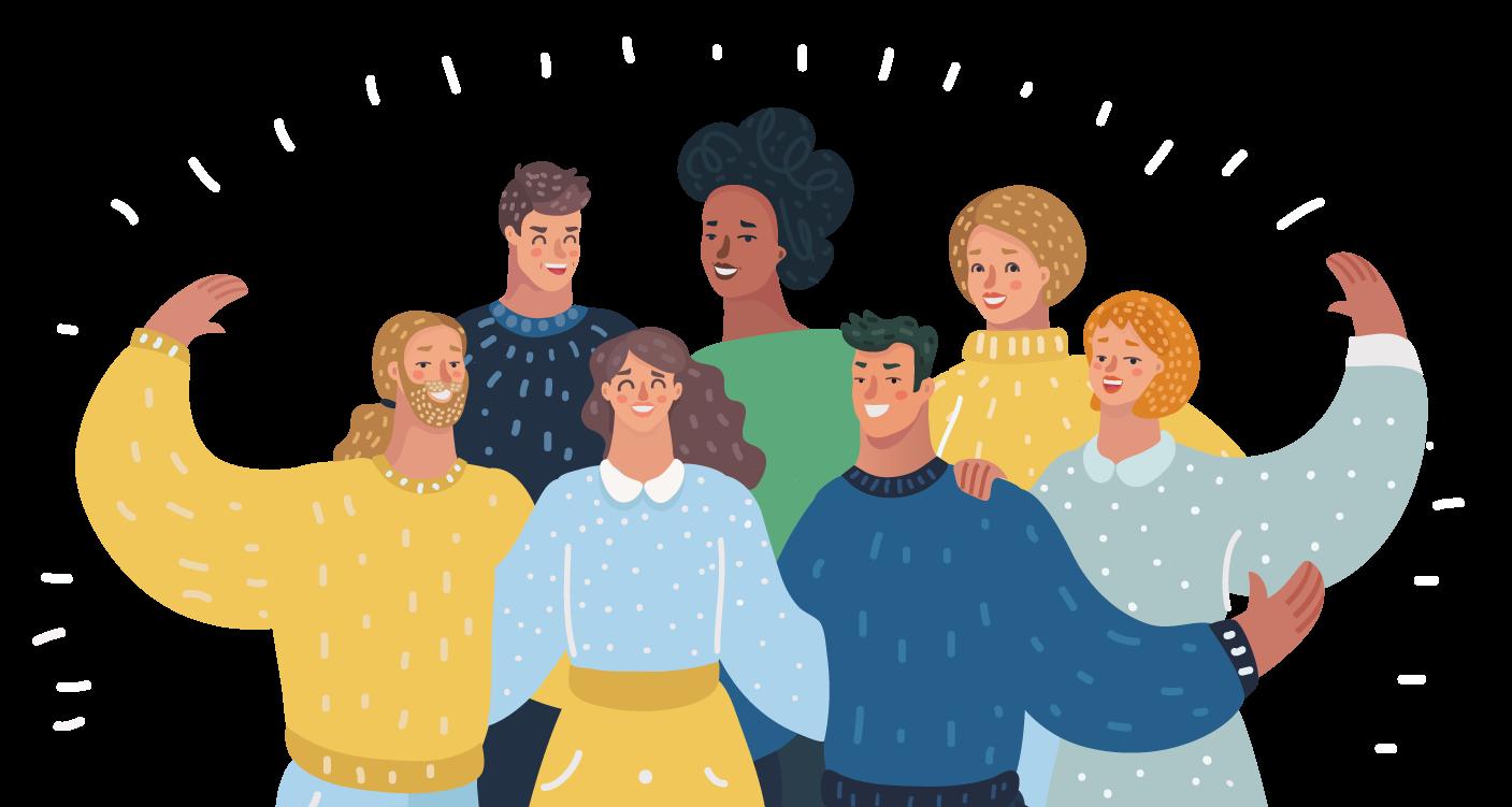Grafik mit einer Gruppe von Menschen